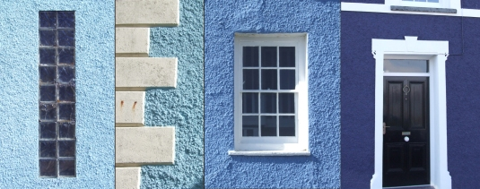 Blue Houses in Cardigan Bay - West Wales