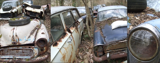 Scrapped Vintage British Cars - Along the road driving to West Wales